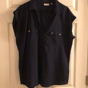 NY & Co. dark blue top with gold buttons